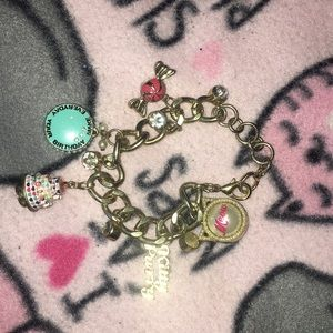 Gold bracelet with colorful charms🥰